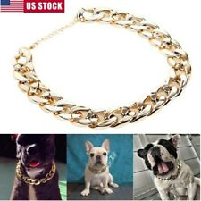 Pet Dog For Pitbull Doberman Curb Cuban Chain Collar Puppy Necklace Silver Gold