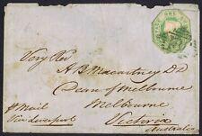 1847 SG54 1/- Green Dublin Green '186' Dean of Melbourne Australia Ship Letter