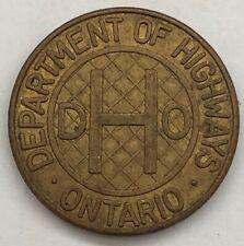 ONTARIO, CANADA ~ DHO (Department of Highways Ontario) ~ Class 1 Vehicle TOKEN
