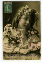 c 1907 Child Children GRAPES IN HAIR GIRL photo postcard