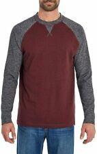 Eddie Bauer Men's Raglan Long Sleeve Shirt Burgundy-Charcoal Size Large NWT