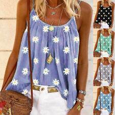 Women Summer Sleeveless Crew Neck T Shirt Print Blouse Casual Beach Tank Top Tee
