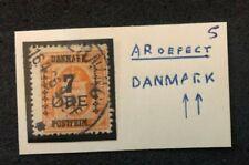stamp Denmark Danmark Postfrim 7 Øre with overprint error