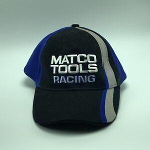 Matco Tools Racing Hat Cap Hook Loop Vintage Auto Black Blue NASCAR vtg cars