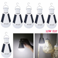 LED Solar Light Bulb 12W E27 Tent Camping Solar Powered Lamp Rechargeable FT 6X