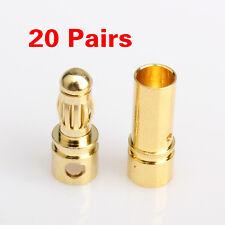 40Pcs 3.5mm Gold Bullet RC Battery ESC Motor Connector Plugs Male Female Set New