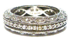SIZE 8.25 BELLA LUCE STERLING SILVER CZ ENCRUSTED ORNATE ETERNITY RING BAND