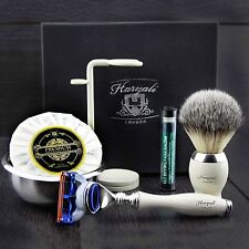 Men's Shaving Gift Set Gillette Fusion & Synthetic Brush Grooming Kit for HIM