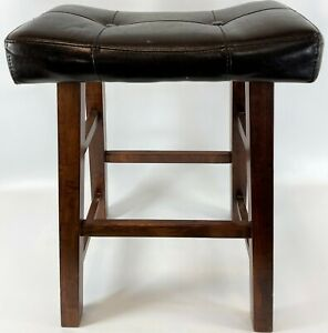 """24"""" Modern Wood Black Faux Leather Top Tufted Makeup Sewing Foot Stool Footstool"""