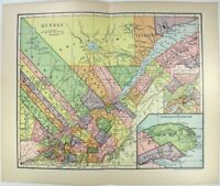 Original 1903 Dated Map of Quebec, Canada by Dodd Mead & Company