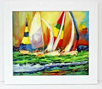 Sailboats Race Seascape  20 x 24 Oil Painting on Canvas w/ Custom Frame