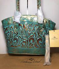 New ListingNew Patricia Nash Zorita Satchel Metallic Burnished Turquoise Tooled $269.00