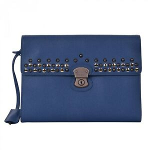 DOLCE & GABBANA Studded Dauphine Leather Briefcase Bag Blue 06410