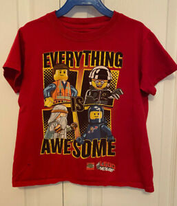Lego Movie Red short sleeve shirt  Everything is Awesome size XS 4/5
