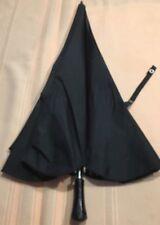 "Vintage Black Nylon Ruffled Umbrella Parasol 30-1/2"" 10 Metal Ribs Made In Japan"