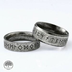 Viking Norse Vintage Silver Stainless Steel Runes Rune Ring Band for Men/Women