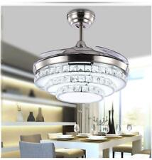 Retractable Crystal Ceiling Fan Light Remote Control Dimmable 3 Color Change