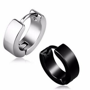 Pair 10mm Black Stainless Titanium Steel Punk Earrings Men Women Stud Piercing