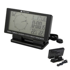 Auto Double Display Digital Pointer Car Compass with Thermometer Clock Calendar