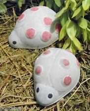 2 small puffy dot Plastic ladybug molds plaster concrete casting garden mould