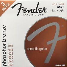 Fender 60XL Ph Bronze Acoustic Guitar Strings 10-48 extra light gauge - 3 Pack
