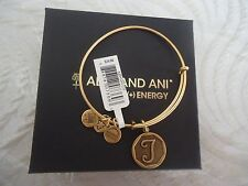 Alex and Ani Initial T Charm Bangle Bracelet  Russian Gold New W/Tag Card & Box