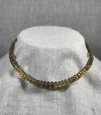 Beer citrine and ruby strand necklace with 18K gold beads and 24k S-clap