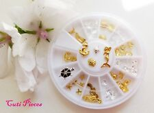"3D Nail Art Gold Silver ""Turtle Wheel"" Shells Starfish Seahorse Mermaids Anchors"