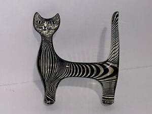 Vintage 1960's Abraham Palatnik PAL Lucite Large Cat Sculpture Figurine W Label