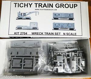 Tichy Train Group N Scale #2704 Wreck Train - Craine, Boom, Crew & Repair Cars