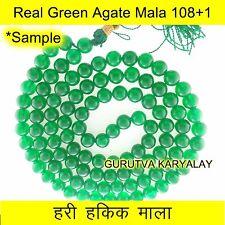 Green Agate Mala 108+1 Beads Hari Hakik Mala Green Agate Rosary / Mala 7.5/8.5mm