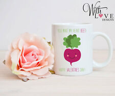 HEART BEET LOVE MUG CUP PERSONALISED ANNIVERSARY VALENTINES DAY PRESENT GIFT