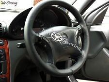 FOR MERCEDES E CLASS W211 2002-2009 REAL BLACK LEATHER STEERING WHEEL COVER NEW