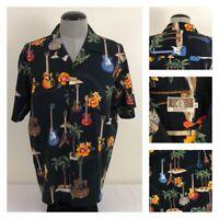 Kalaheo Mens L Guitar Palm Tree Hibiscus Flower Hawaiian Camp Shirt USA