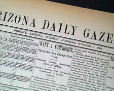 Rare 19th Century PHOENIX AZ Maricopa County ARIZONA Territory 1893 Newspaper
