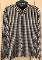 THE NORTH FACE Mens Long Sleeve Outdoor Shirt blue plaid fishing hiking Size XL