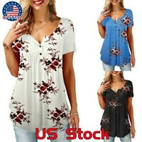 Women's Casual Summer Short Sleeve Blouse Ladies Floral Loose T-Shirt Tunic Top