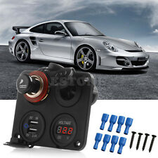 12V Car Cigarette Socket Plug+2.1A USB Adapter Charger+ LED Digital Voltmeter