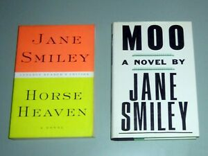 2 First Edition Book SIGNED by JANE SMILEY MOO & HORSE HEAVEN RACE TRACKS JOCKEY
