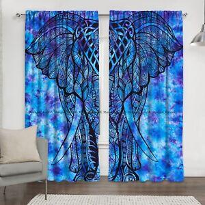 Elephant Mandala Bohemian Window Curtain Indien Cotton Drape Hanging Balcony Set