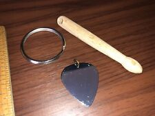 DRUM SET Stick Keychain and Metal electric / acoustic Guitar pick for necklace