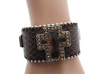 Women Brown Leather Bracelet Jewelry Silver Rhinestone Bead Big Cross Luck Bless