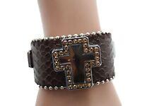 Women Brown Leather Bracelet Jewelry Silver Rhinestone Bead Big Cross Luck Bless