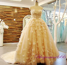 2018 Sweetheart Champagne Applique Wedding Dress Bridal Gown Custom Plus Size