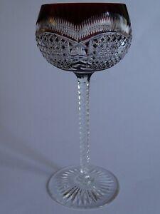 RARE VINTAGE ROEMER WINE GLASS CRYSTAL VAL SAINT LAMBERT DESIGN RED