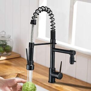 Küchenarmatur Schwarz mit Ausziehbar Brause Einzelgriff Küche Wasserhahn Mischen