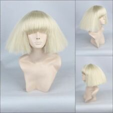 Sexy Woman Star Lady Gaga Beigh Short Sides Puffy Synthetic Cosplay Wig +Gift