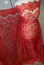 """1m  red BRIDAL embriouded SCALLOPED LACE  FABRIC 52"""""""