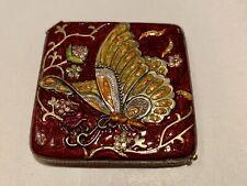 New listing Vintage Carucci Enamel Compact Pocket Mirror Case