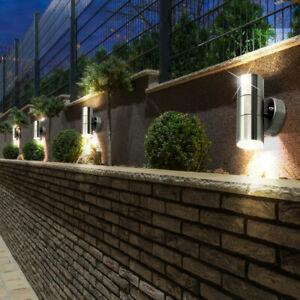 4er Set LED Terassen Außen Leuchten Edelstahl UP DOWN Strahler Wand Glas Lampen